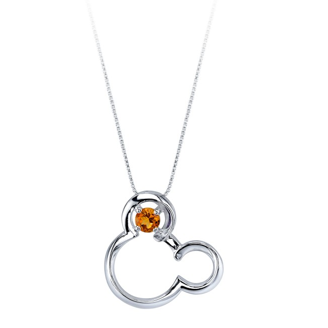 Mickey Mouse November Birthstone Necklace for Women – Citrine