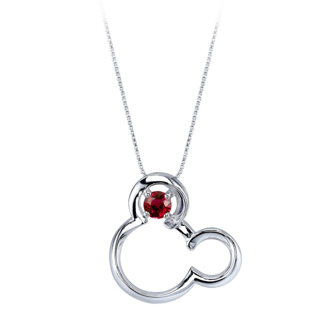 Mickey Mouse July Birthstone Necklace for Women – Ruby