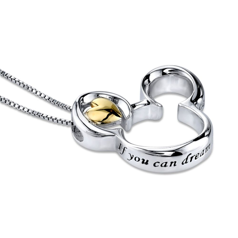 Mickey Mouse Icon Sterling Silver Heart Necklace