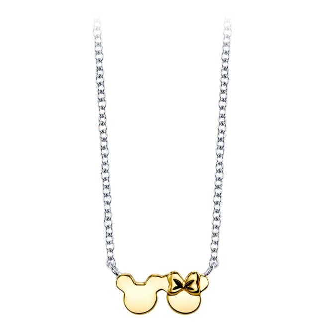 Mickey and Minnie Mouse Sterling Silver Icon Necklace