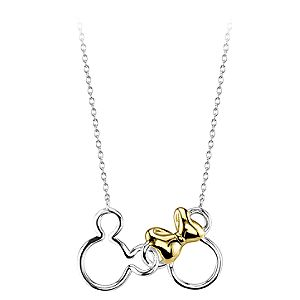 Mickey and Minnie Mouse Icon Sterling Silver Necklace