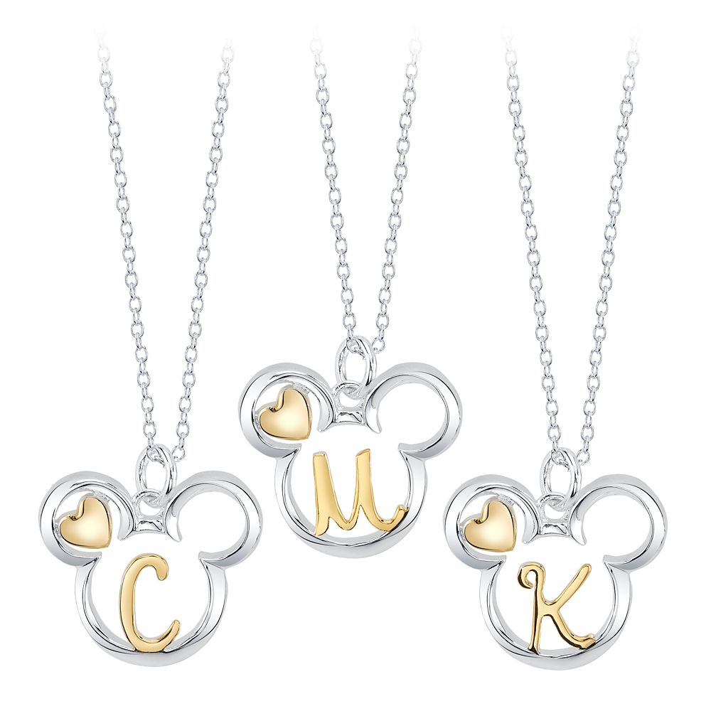 Mickey Mouse Icon with Initial Necklace