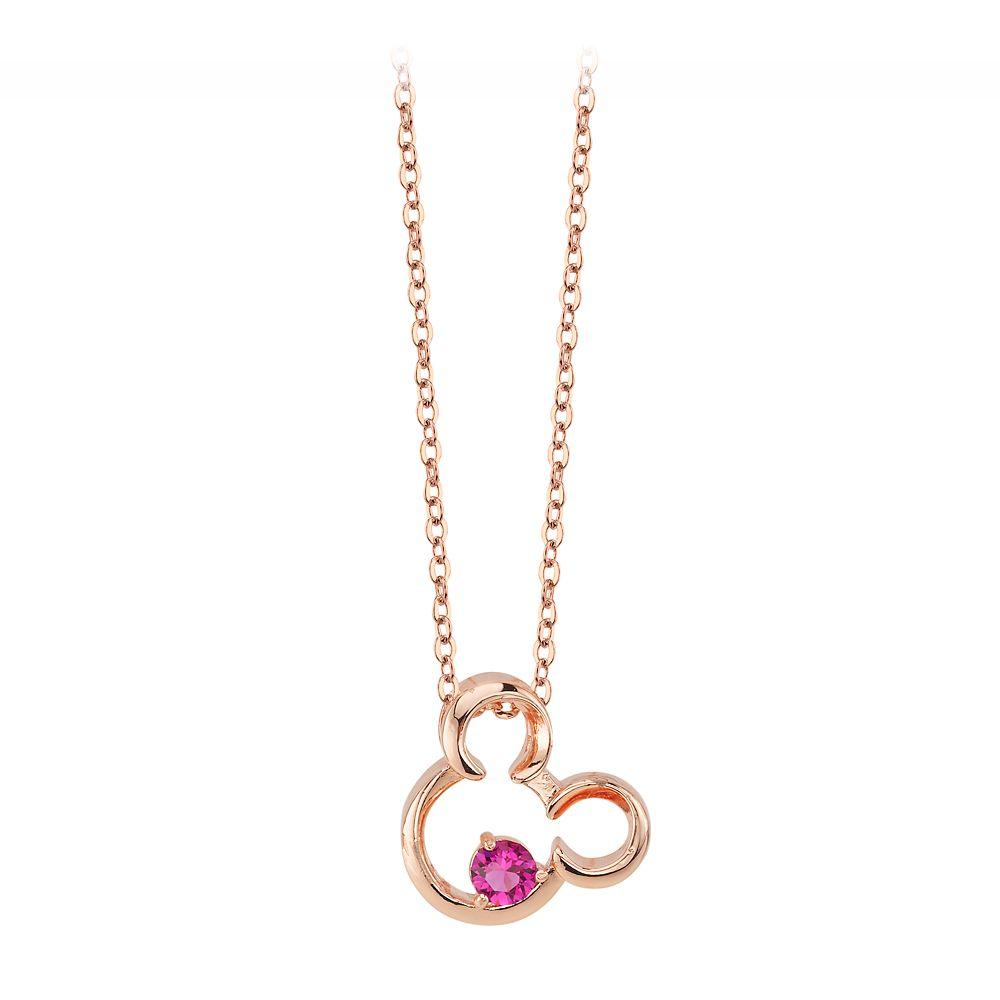 Mickey Mouse Icon Fuschia Stone Necklace