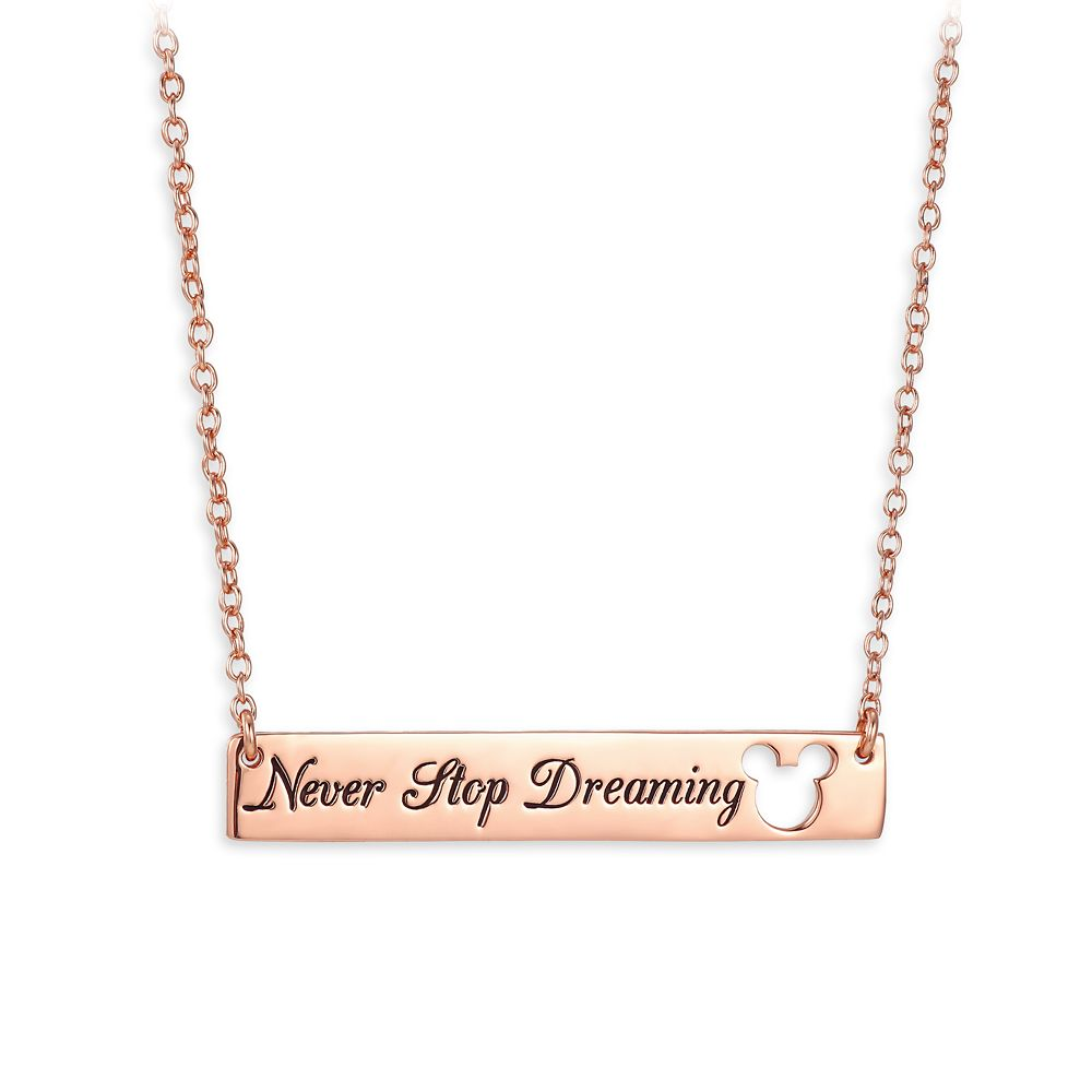 Mickey Mouse ''Never Stop Dreaming'' Bar Necklace