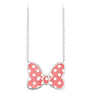 Minnie Mouse Coral Bow Sterling Silver Necklace