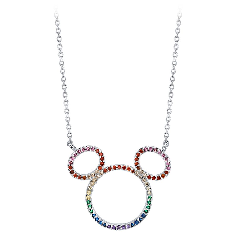Mickey Mouse Rainbow Crystal Pendant Necklace