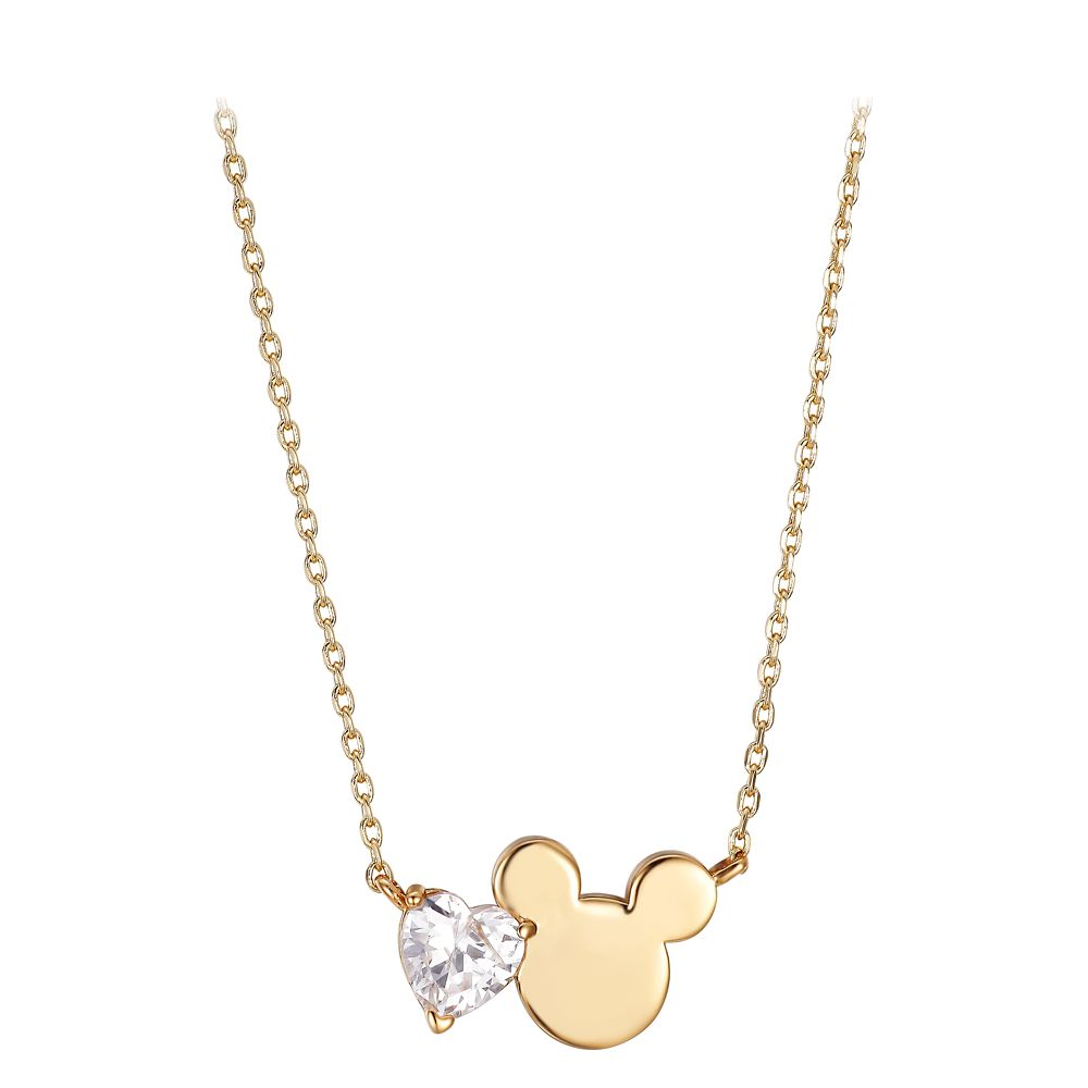 Mickey Mouse Icon and Heart Necklace