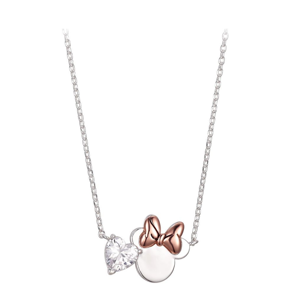 Minnie Mouse Icon and Heart Necklace