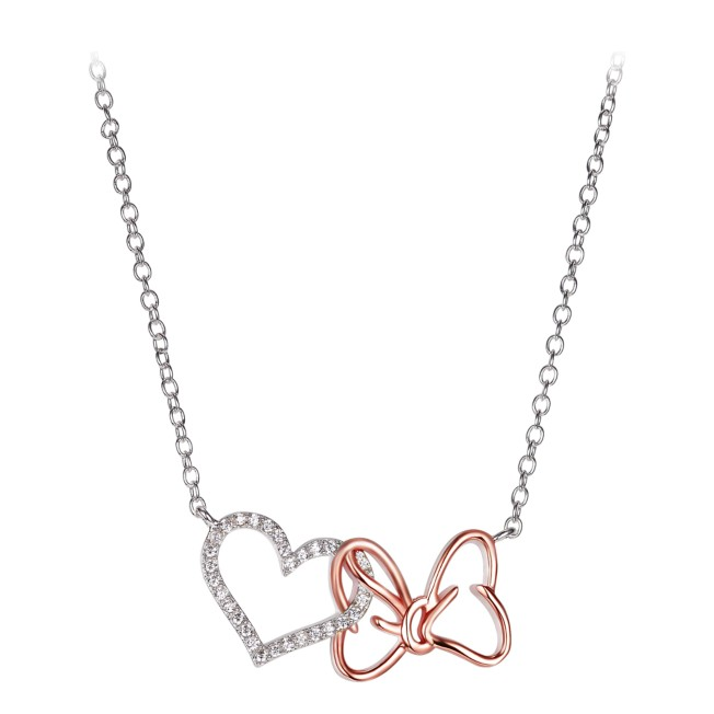 Minnie Mouse Bow and Heart Necklace