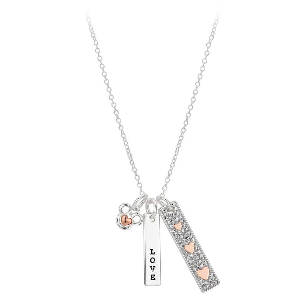 Mickey Mouse ''Love'' Bar Necklace