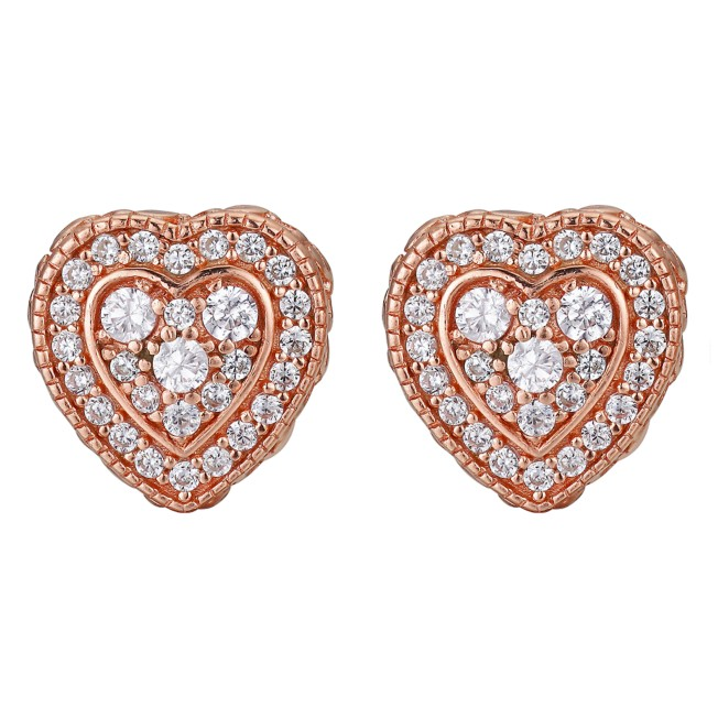 Minnie Mouse Rose Gold Heart Stud Earrings