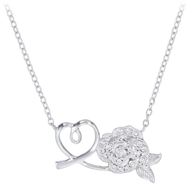 Beauty and the Beast Rose and Heart Necklace