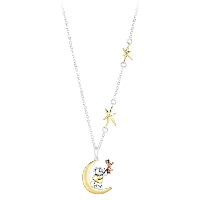 Winnie the Pooh and Piglet Moon Pendant Necklace