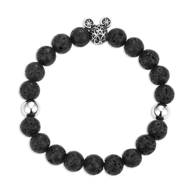 Mickey Mouse Icon Black Lava Bead Bracelet