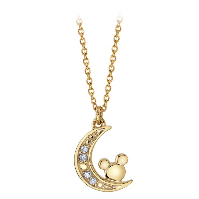 Mickey Mouse Icon Crescent Moon Diamond Necklace