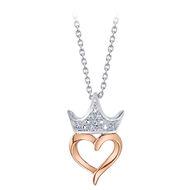 Disney Princess Crown and Heart Diamond Necklace