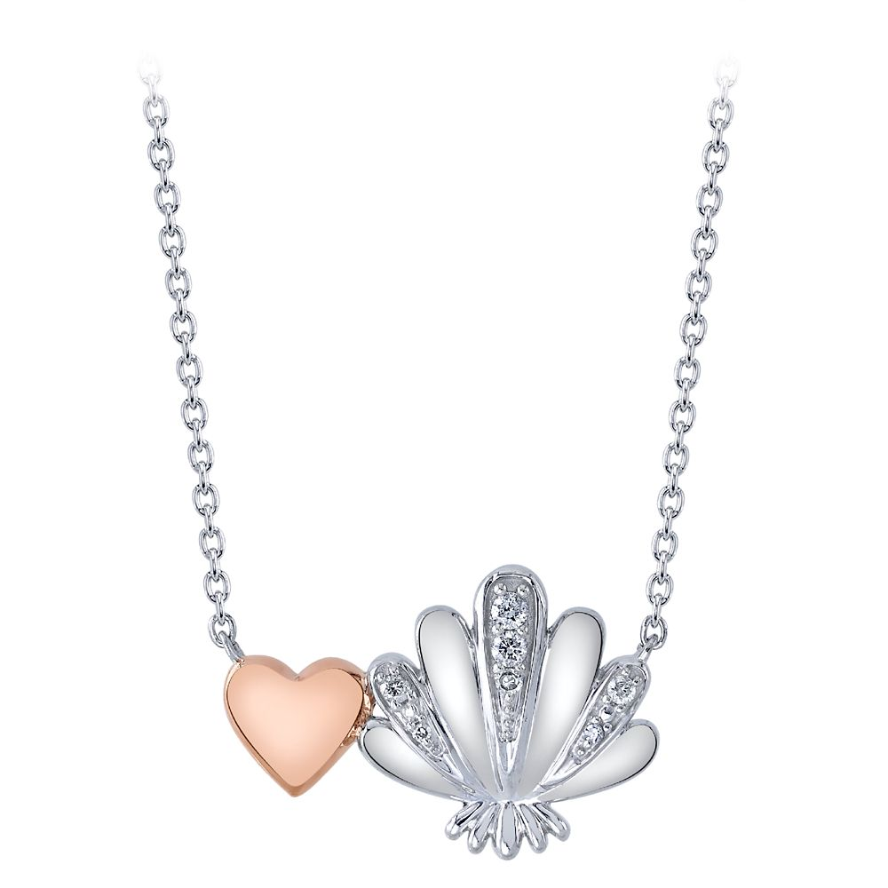 The Little Mermaid Heart and Shell Diamond Necklace