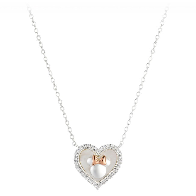 Minnie Mouse Mother of Pearl Heart Necklace
