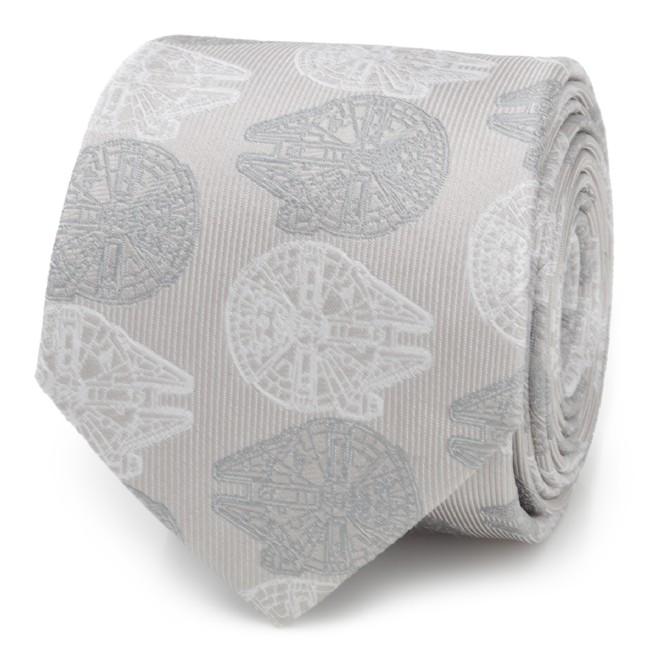 Millennium Falcon Gray Silk Tie for Adults – Star Wars