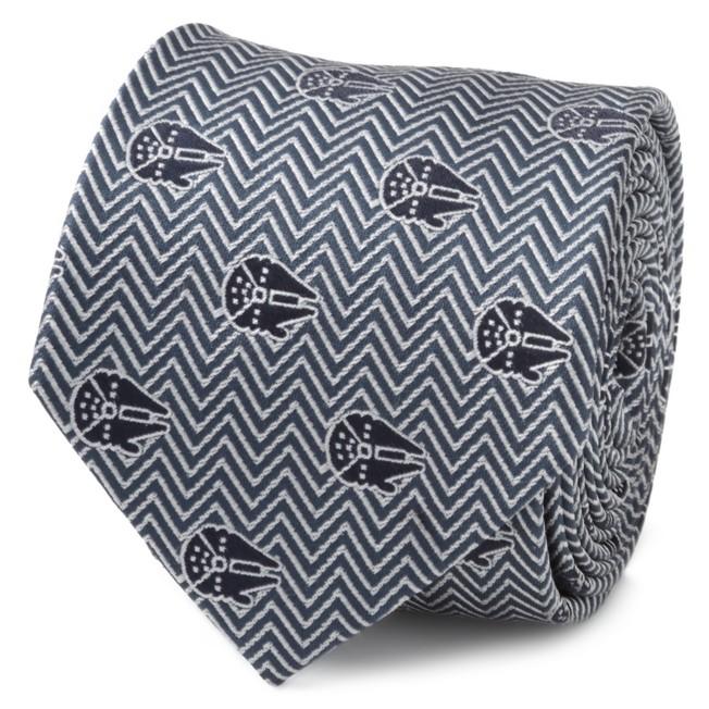 Millennium Falcon Herringbone Blue Silk Tie for Adults – Star Wars