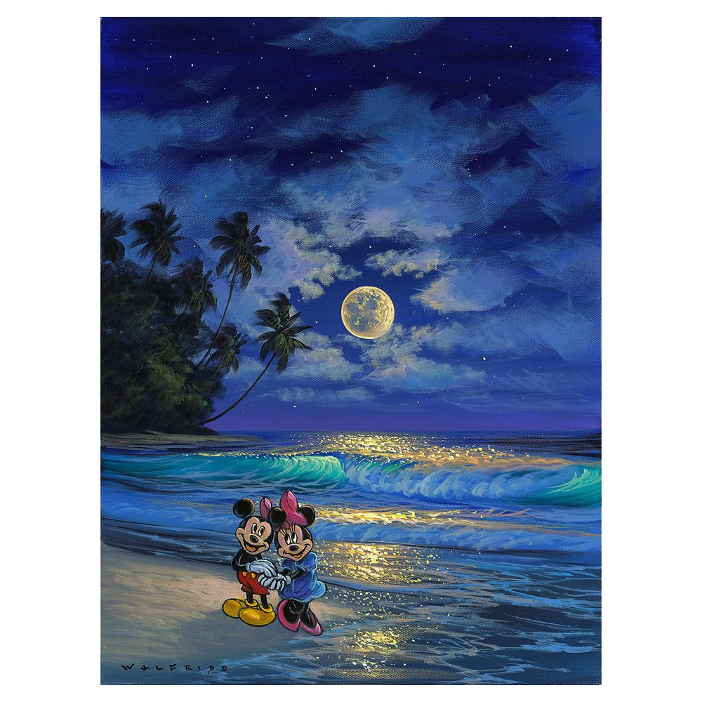 Mickey and Minnie Mouse ''Romance Under the Moonlight'' Giclee on Canvas by Walfrido Garcia – Limited Edition