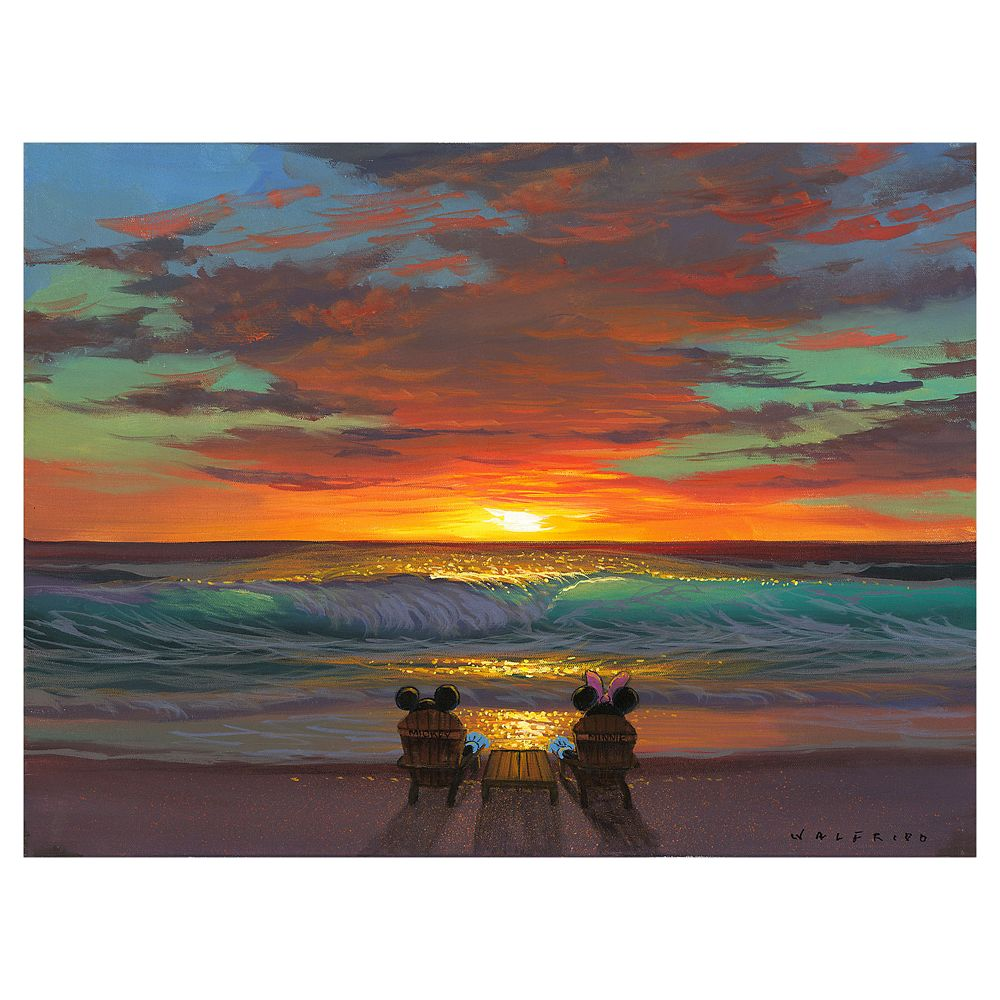 Mickey and Minnie Mouse ''Sharing a Sunset'' Giclee on Canvas by Walfrido Garcia – Limited Edition