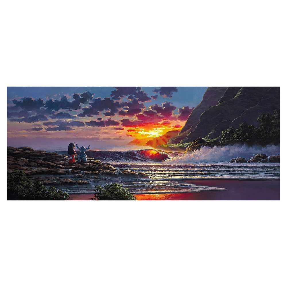 ''Lilo and Stitch Share a Sunset'' Gallery Wrapped Canvas by Rodel Gonzalez – Limited Edition