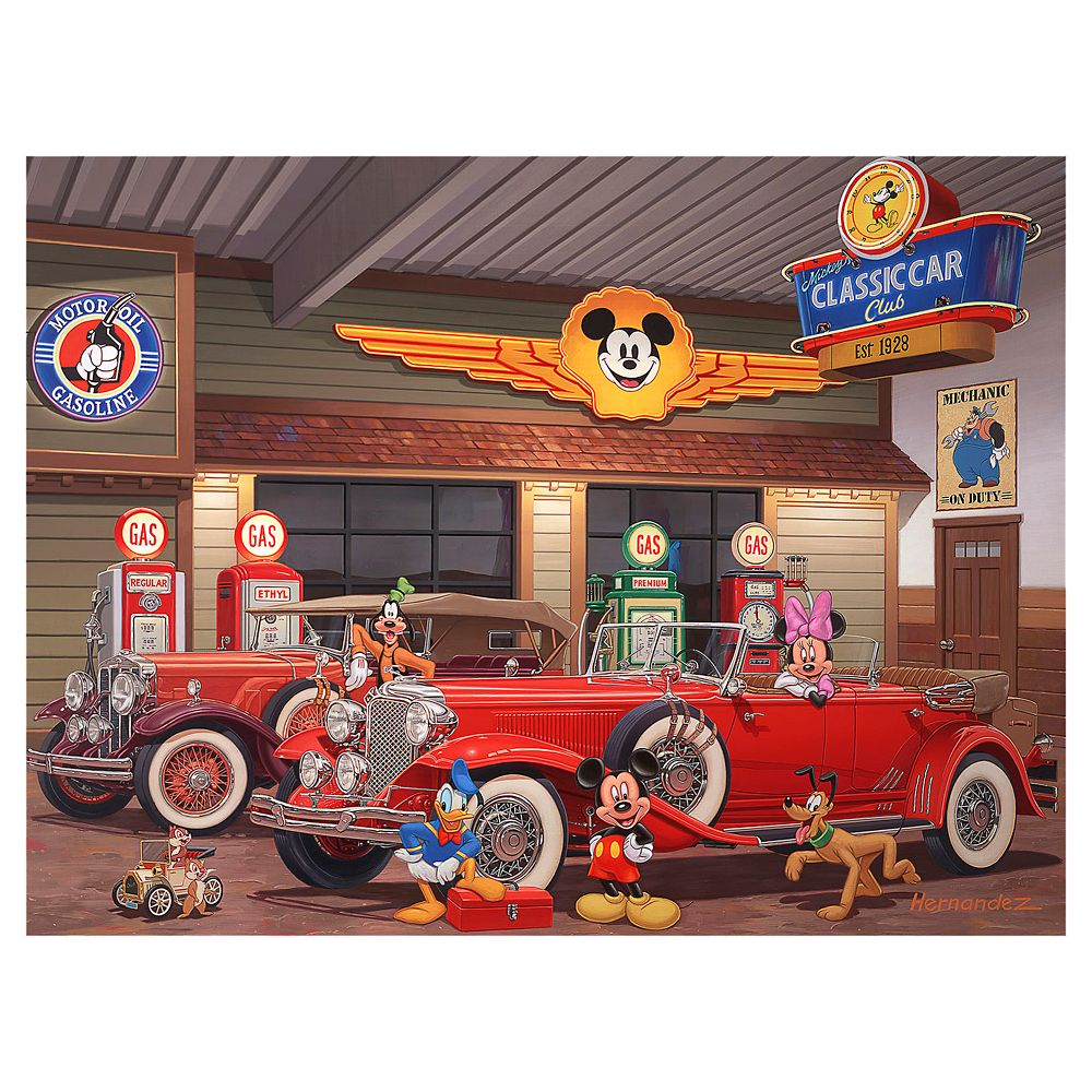 ''Mickey's Classic Car Club'' Gallery Wrapped Canvas by Manuel Hernandez – Limited Edition