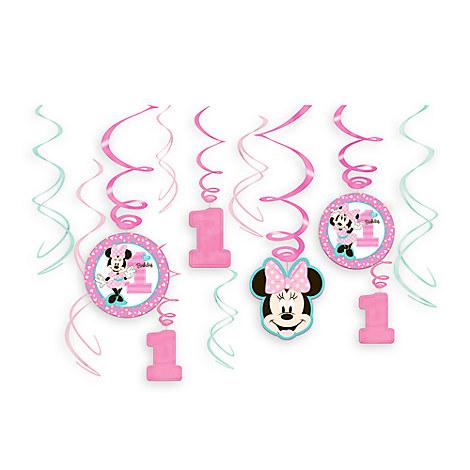 Minnie Mouse 1st Birthday Swirl Decorations 12-Piece Set