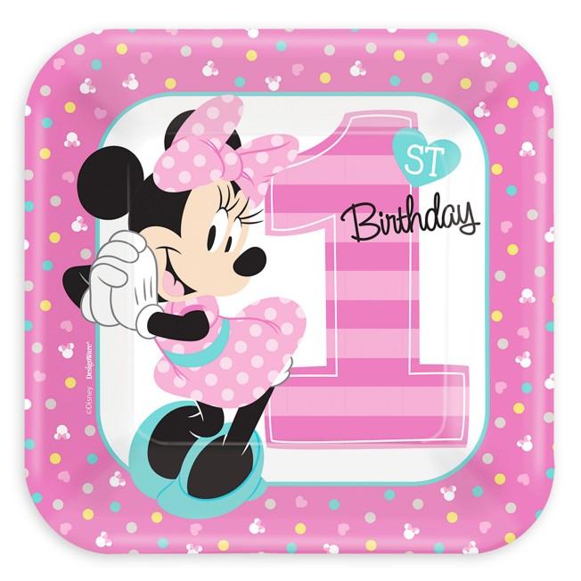 Minnie Mouse 1st Birthday Dessert Plates