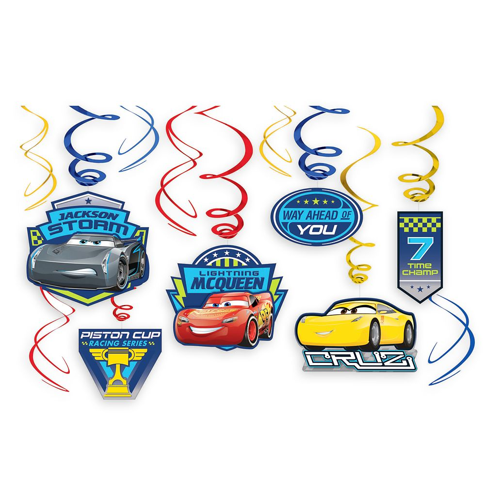 Cars 3 Swirl Decorations 12-Piece Set