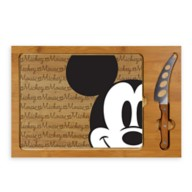 Mickey Mouse Glass Top Serving Tray and Knife Set
