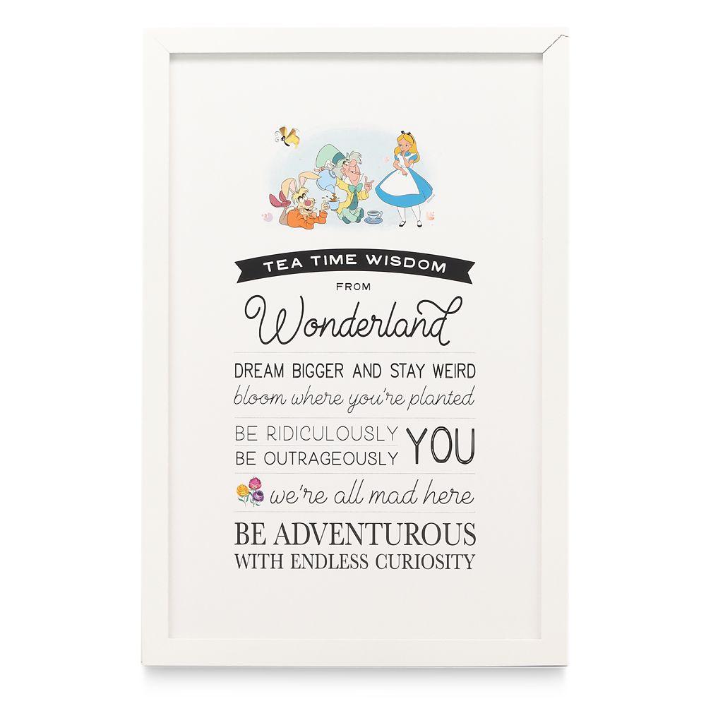 Alice in Wonderland Framed Wood Wall Décor – ''Tea Time Advice''