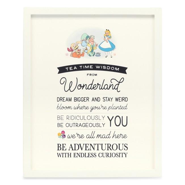 Alice in Wonderland ''Tea Time Wisdom'' Framed Wood Wall Décor