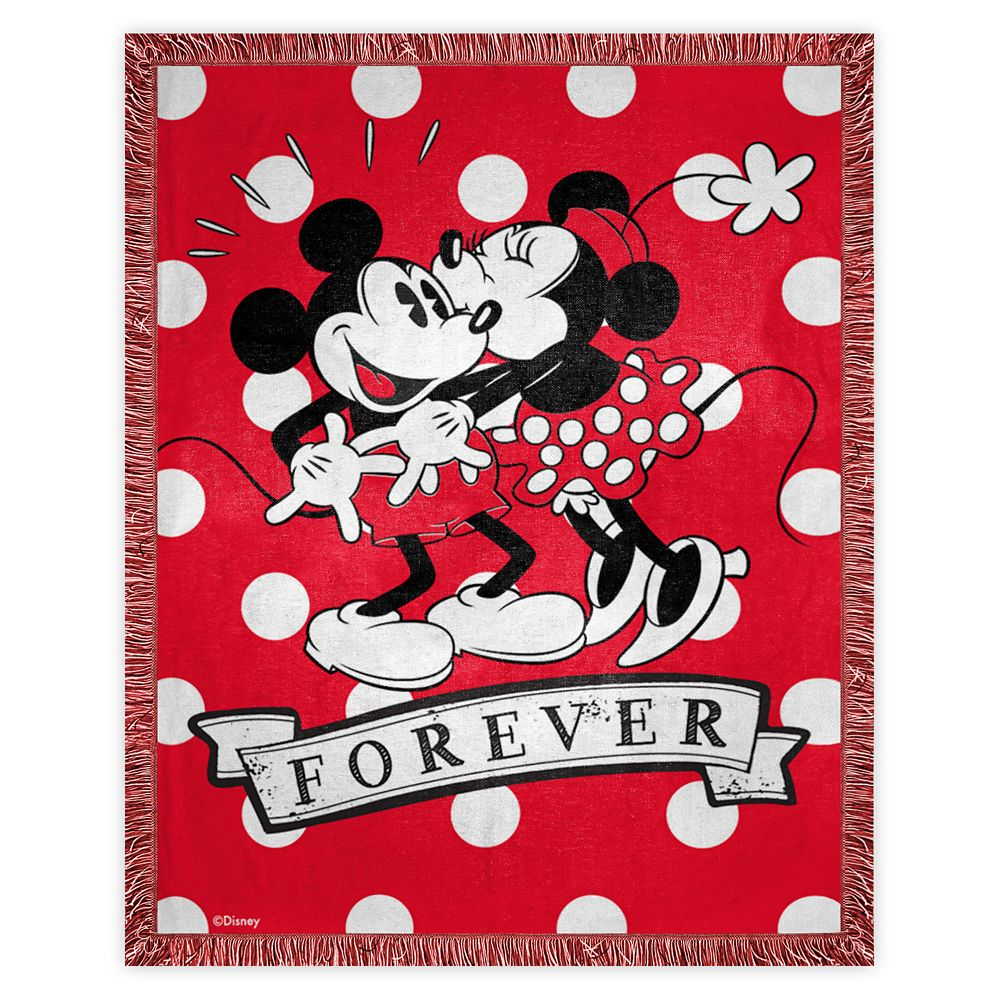 Mickey and Minnie Mouse ''Forever'' Woven Tapestry Throw
