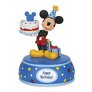 Mickey Mouse with Birthday Cake Musical Figurine
