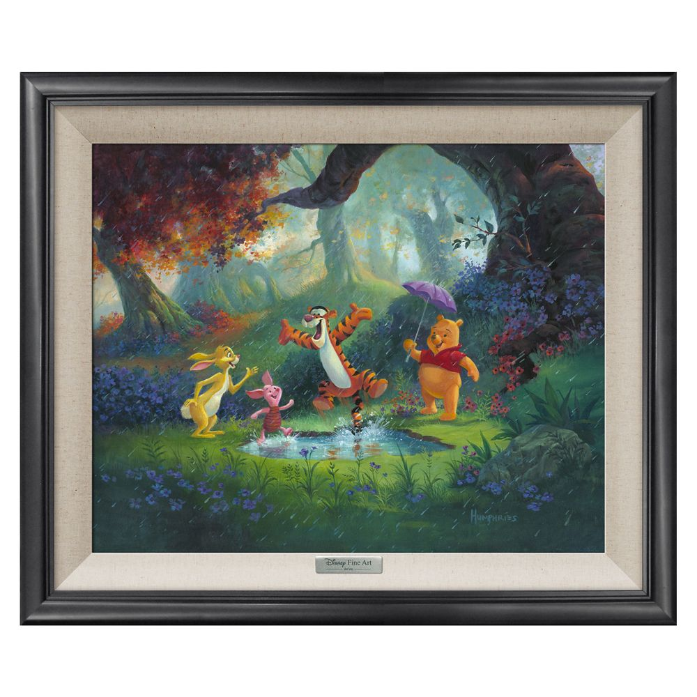 Winnie the Pooh and Friends ''Puddle Jumping'' Giclée on Canvas by Michael Humphries Official shopDisney