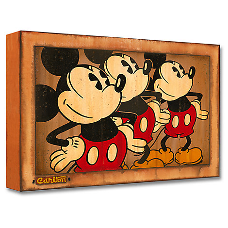 Mickey Mouse ''Three Vintage Mickeys'' Giclée by Trevor Carlton