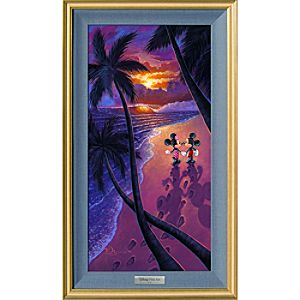 """Mickey and Minnie Mouse """"Sunset Stroll"""" Giclée on Canvas by Tim Rogerson – Limited Edition"""