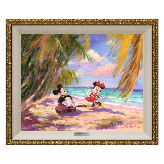 Mickey and Minnie Mouse ''Palm Trees and Island Breeze'' Giclée on Canvas by Irene Sheri