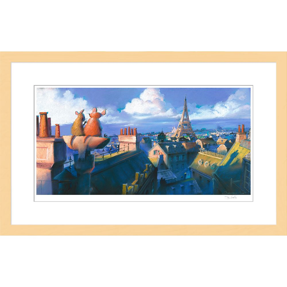 ''Remy and Emile, Paris Morning'' Ratatouille Framed Giclée on Paper by Dominique R. Louis – Limited Edition