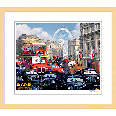 Cars 2 ''Rush Hour Chase''  Framed Giclée on Paper by Harley Jessup - Limited Edition