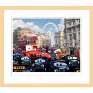 Cars 2 ''Rush Hour Chase''  Framed Giclée on Paper by Harley Jessup – Limited Edition