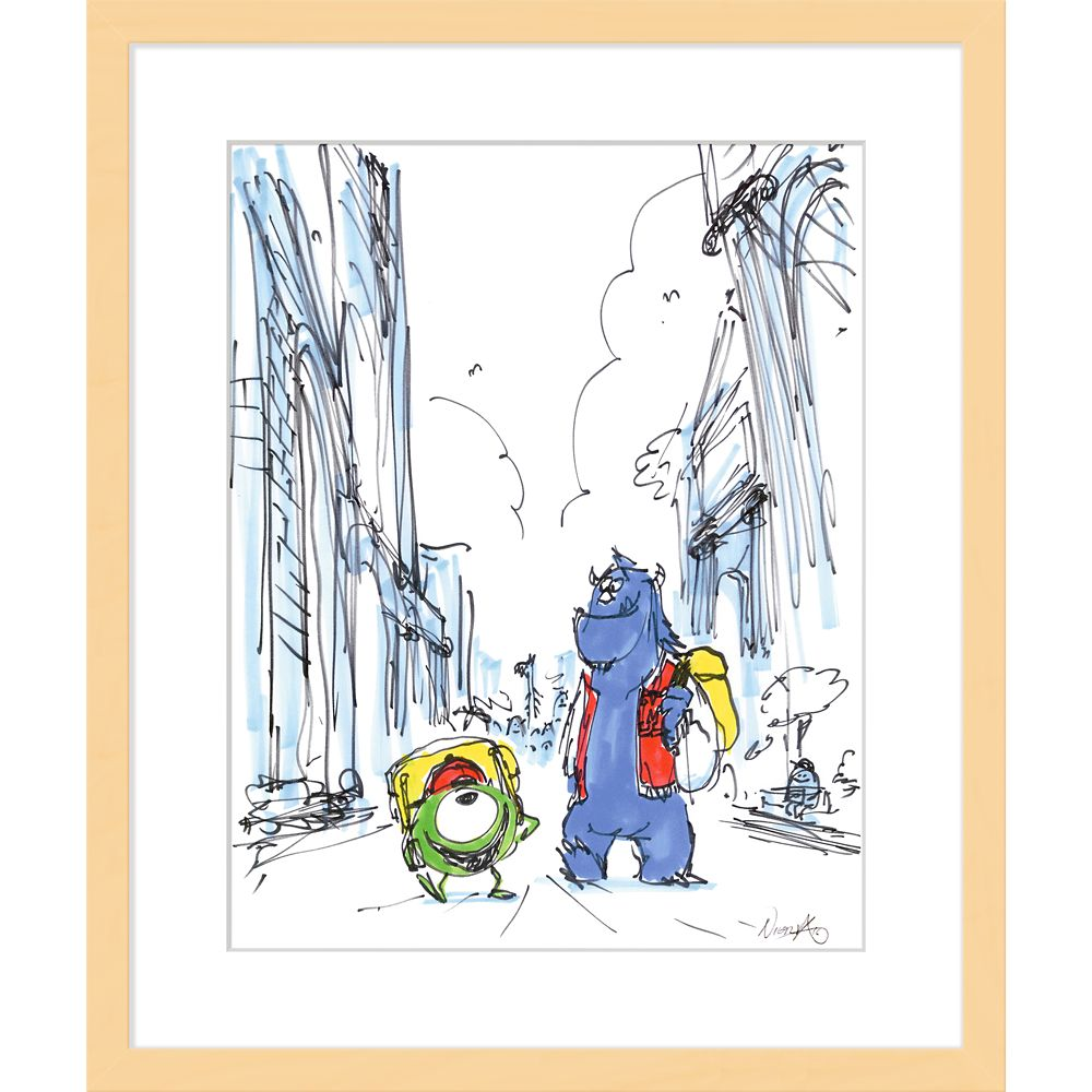 ''Mike and Sulley'' Framed Giclée on Paper by Ricky Nierva – Limited Edition