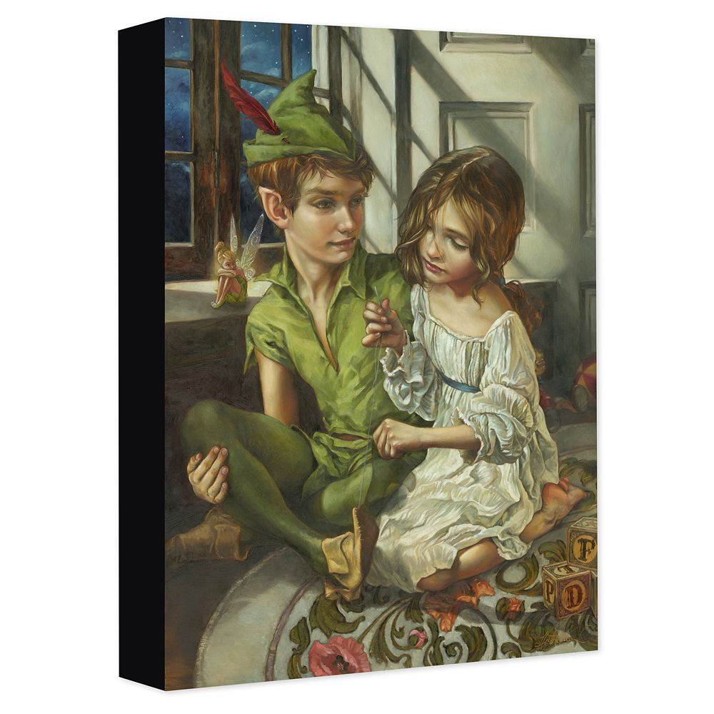 Peter Pan and Wendy ''Sewn to His Shadow'' Gicle on Canvas by Heather Edwards Official shopDisney
