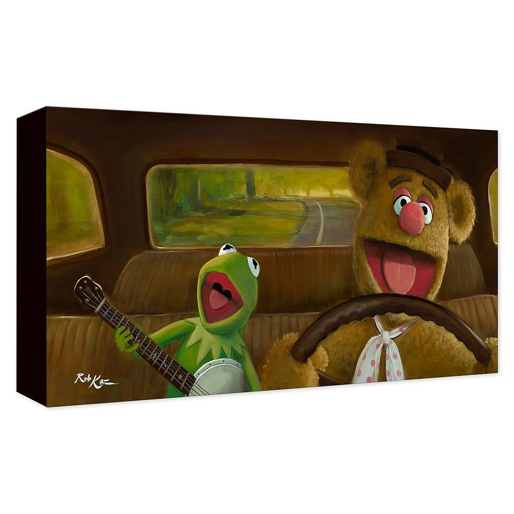 Kermit and Fozzie ''Movin' Right Along'' Gicle on Canvas by Rob Kaz Official shopDisney