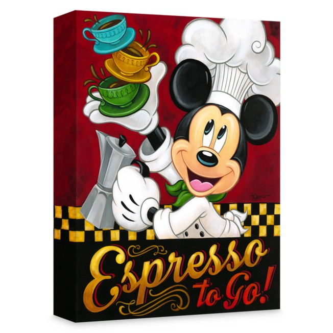 Mickey Mouse ''Espresso to Go!'' Giclée on Canvas by Tim Rogerson