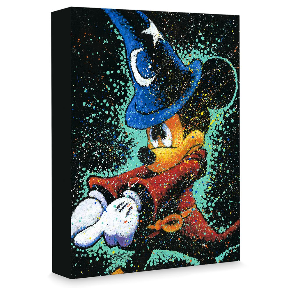 Sorcerer Mickey Mouse ''Mickey Casts a Spell'' Giclée on Canvas by Stephen Fishwick Official shopDisney