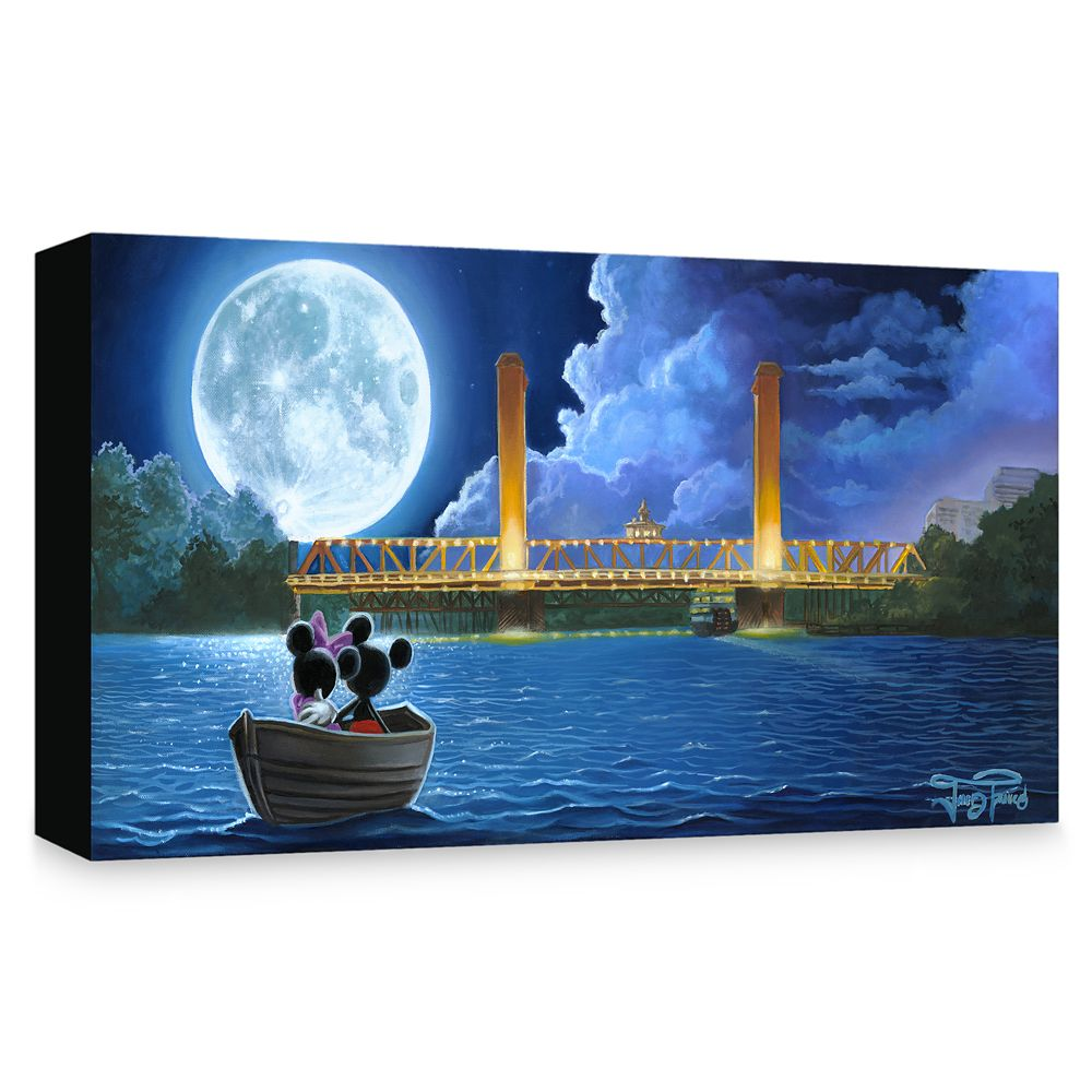 Mickey and Minnie Mouse ''Drifting in the Moonlight'' Giclée on Canvas by Jared Franco