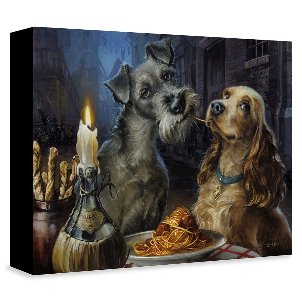 Lady and the Tramp ''Bella Notte'' Giclée on Canvas by Heather Edwards – 2019 Film – Limited Edition